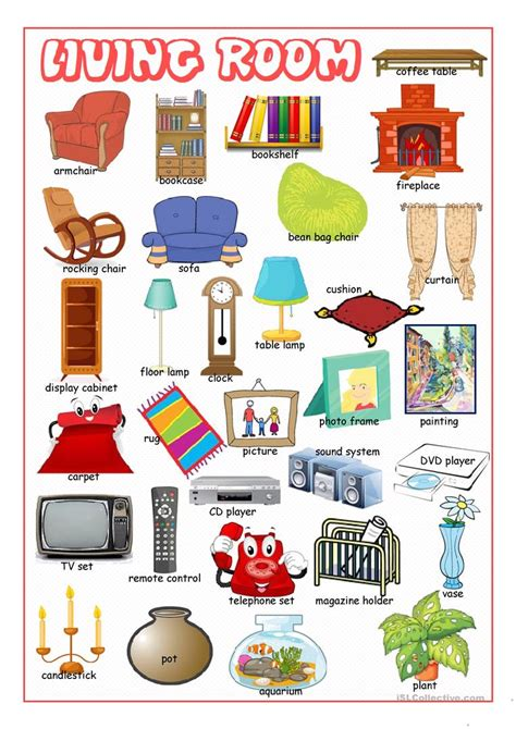 Things You Find In A Living Room In Living Room Picture Dictionary Worksheet Free Esl