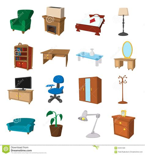 Cartoon Dining Room Furniture Cartoon Icons Set Stock Vector Image 64251326