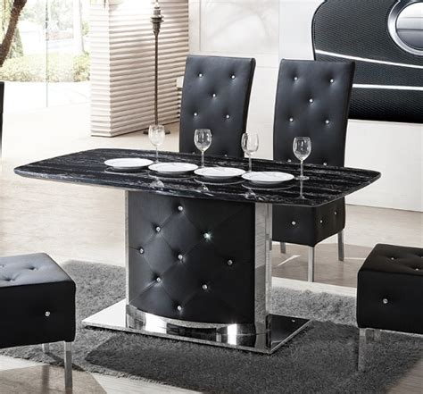 Black Marble Dining Table And Chairs Serene Black Marble Finish Dining Table Only 21360