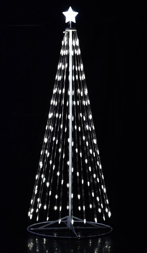 108 9 ft outdoor white led cone tree w collapsible base