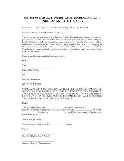 Rent Increase Letter Scotland Scotland Notice Of Rent Increase Forms And Business Templates Megadox