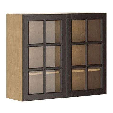 Wall Cabinet Glass Doors Eurostyle Ready To Assemble 36x30x12 5 In Naples Wall Cabinet In Maple Melamine And Glass Door