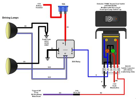 wiring diagram for driving light relay circuit and