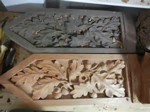 wood carved oak leaf decoration