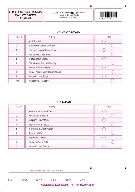 Ballot Sheet Paper Template E Voting Website Template
