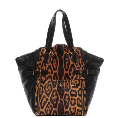 Yves Laurent Downtown Leopard Print Media Tote by Yves Laurent Leather Leopard Print Pony Hair Medium