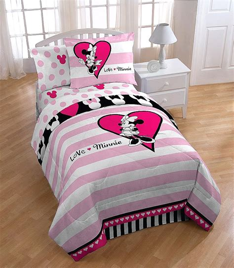 minnie mouse bed set twin disney love minnie mouse pink reversible comforter