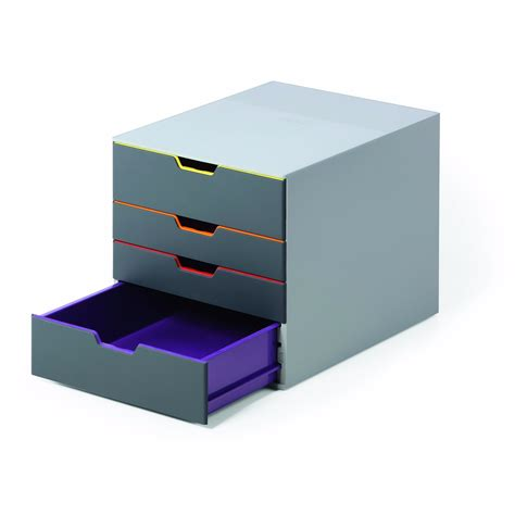 Office Desk Stationery Stylish Grey Box Tower Home Office Study Organiser Storage Unit With Distinct Designs