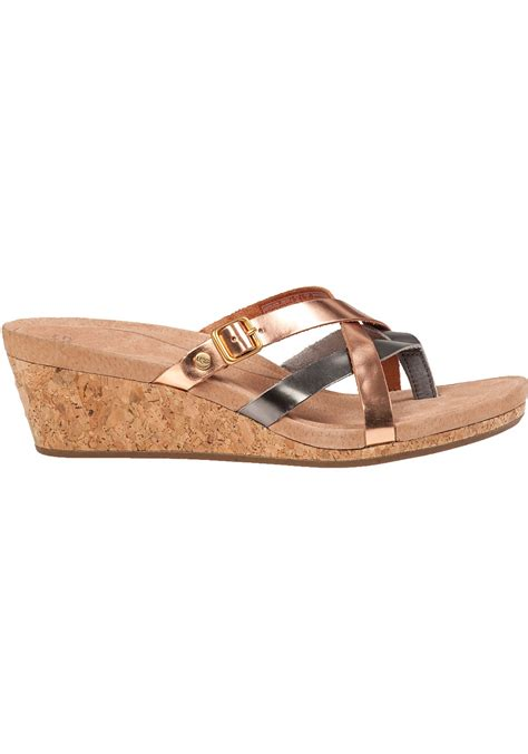 Sakia Sandiego Wedges Sandal Grey ugg adalie wedge sandal gold leather in pink lyst