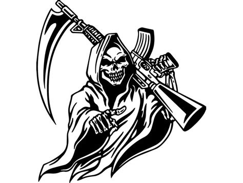 grim reaper 4 skull sickle machine gun m 16 death killer