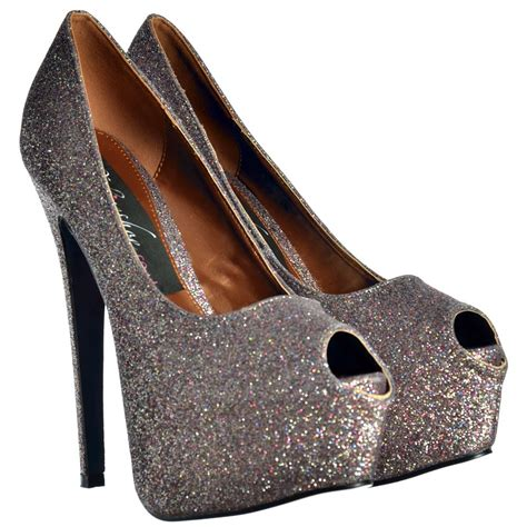 high heels sparkly shoekandi peep toe sparkly glitter stiletto concealed