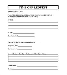 time request form template sle time request form 23 free documents
