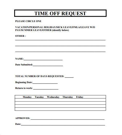 Printable Doc Time Off Request Form Sle Download Time Request Calendar Template