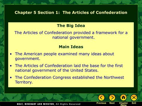 chapter 5 section 1 ppt chapter 5 section 1 the articles of confederation