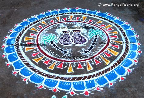 rangoli themes for pongal pongal theme rangoli with two pongal pot