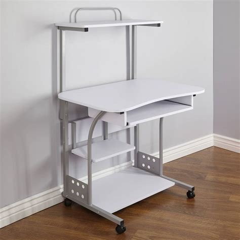 small computer desk with wheels small compact mobile portable computer tower with shelf