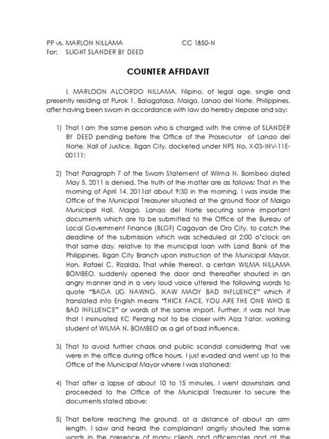 Formal Letter Vandalism Counter Affidavit Sle Affidavit