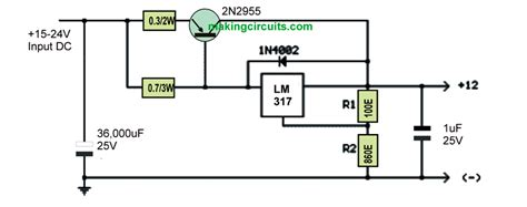 transistor power supply tv increasing lm317 current with a transistor
