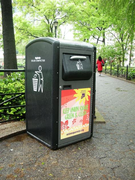 trash crusher solar trash compactors in union square nyc i spy nyc