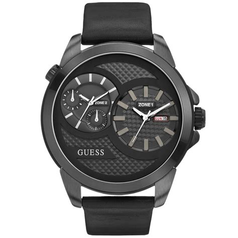 Guess Dualtime Leather Gold 1 guess s dual time black leather 55mm u0184g1 in black for lyst