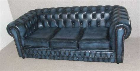Blue Chesterfield Leather Sofa Antiques Atlas Blue Chesterfield 3 Seat Leather Sofa