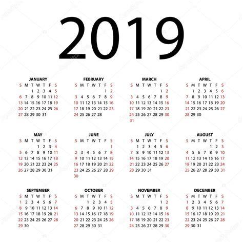 Mayan Calendar 2019 Calendar For 2019 On White Background Stock Vector