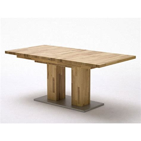 Turin Extendable Dining Table In Core Beech With Chrome Folding Extendable Dining Table
