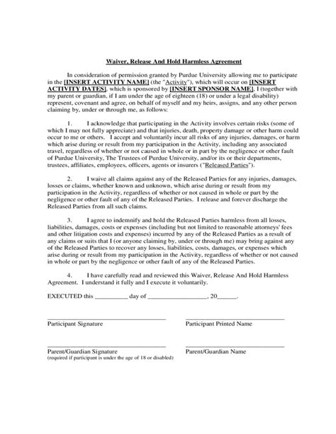 waiver release and hold harmless agreement free