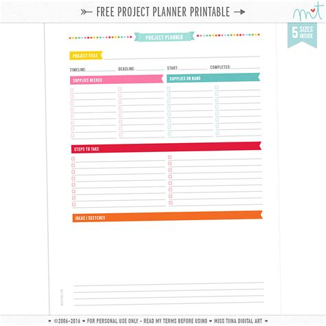 printable project planner free free project planner current projects planner page