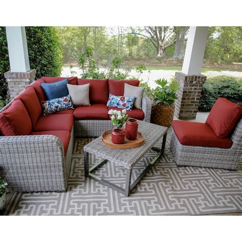 red outdoor sectional forsyth 5 piece wicker outdoor sectional set with red