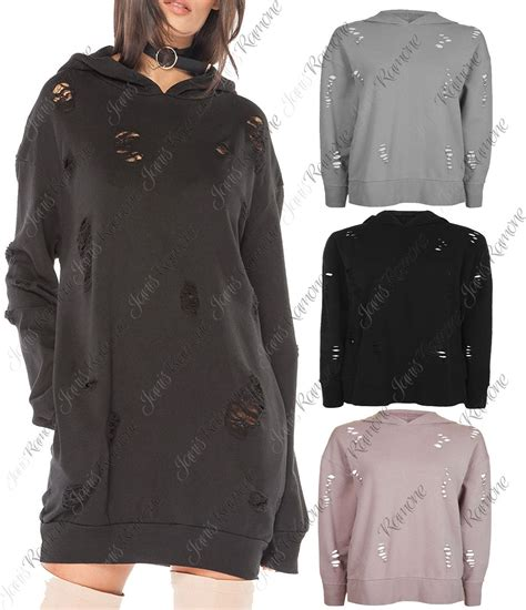 X54 Rg Jumper Jumpsuit new womens distressed ripped holes hooded oversized baggy sweatshirt jumper top ebay