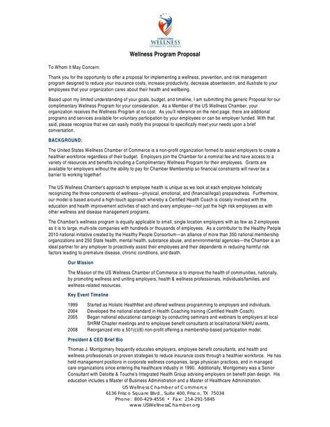 us wellness chamber of commerce wellness program proposal