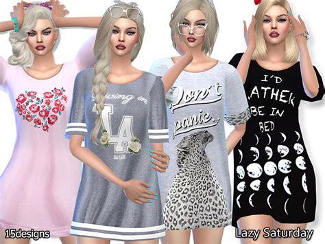 sims 4 pajamas pinkzombiecupcakes pzc lazy saturday sleep tee pack