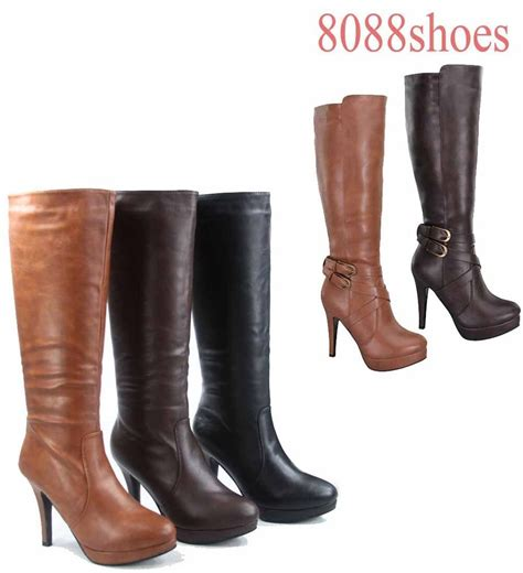 s fashion dress knee high platform high heel boots
