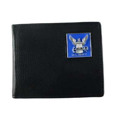 Lomberg Bifold Wallet Navy u s navy bifold leather wallet with navy emblem