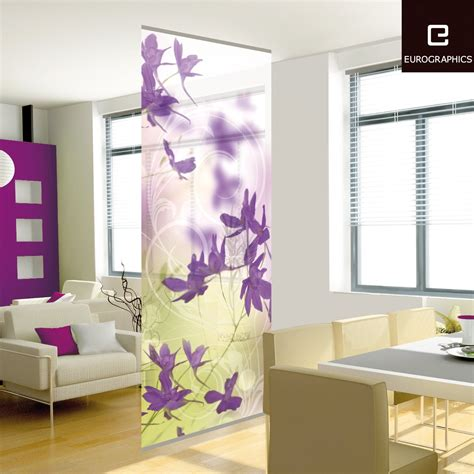living room screens beautifully purple flower patterns decorative wall