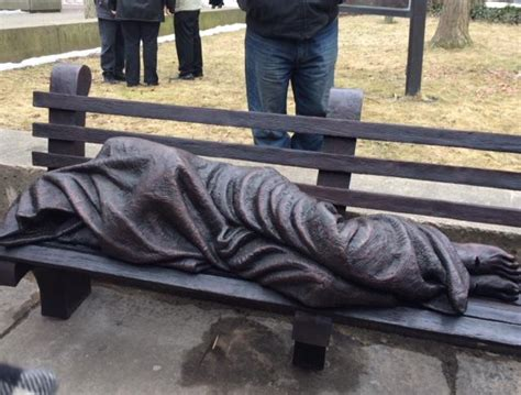 homeless jesus on park bench homeless jesus thought provoking or controversial wbfo