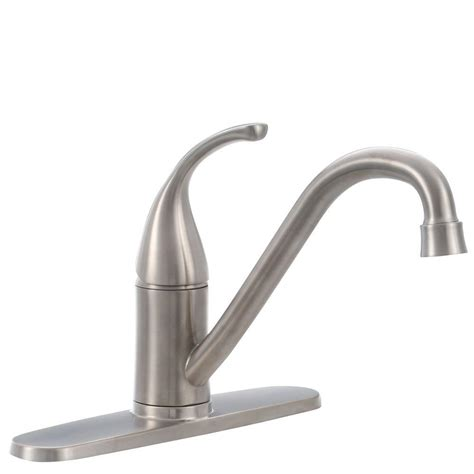 glacier bay single handle kitchen faucet glacier bay builders single handle standard kitchen faucet in stainless steel 67559 0008d2 the