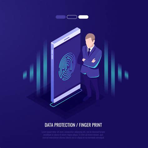 fingerprint access password man  mobile phone vector