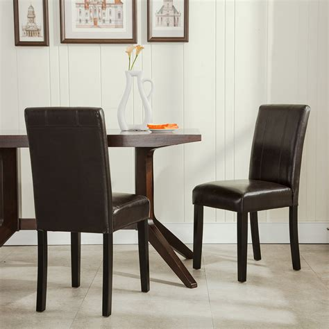 set of 2 design furniture leather parsons dining