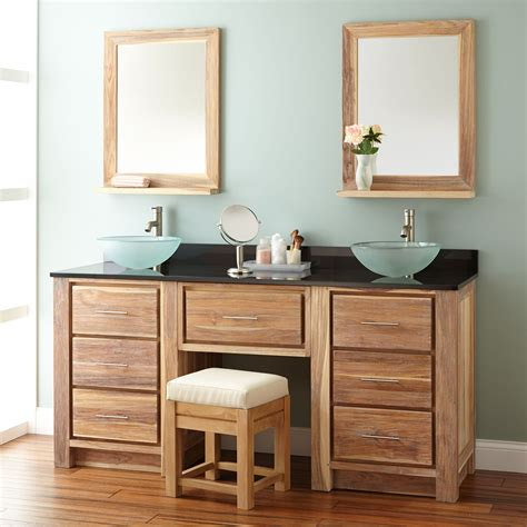 72 quot venica teak double vessel sink vanity with makeup area whitewash teak vanities