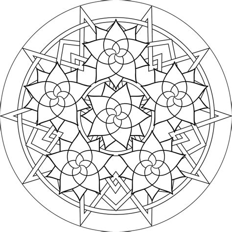 geometric coloring page to print free printable mandala