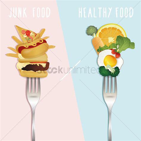 vegetables vs junk food healthy food versus junk food design vector image
