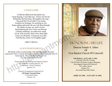 obituary program sle obituary template memorial