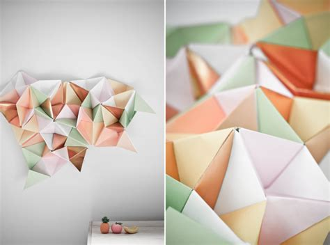 How To Make 3d Triangle With Paper - white wall gallery triangles goes origami
