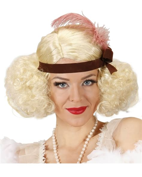 Hairpiece Pesta Hairpiece Headpiece 20s wig with headband for carnival horror shop