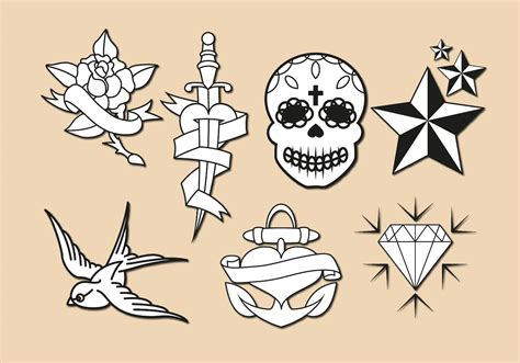 new school tattoo vector old school tattoo vector download free vector art stock