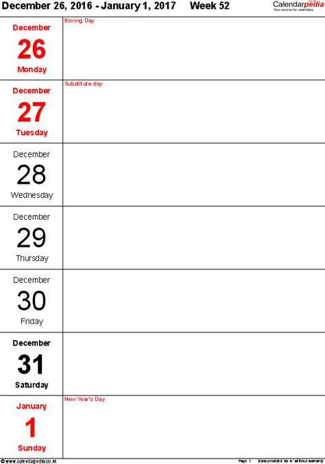 free printable for days of the week calendar template 2016