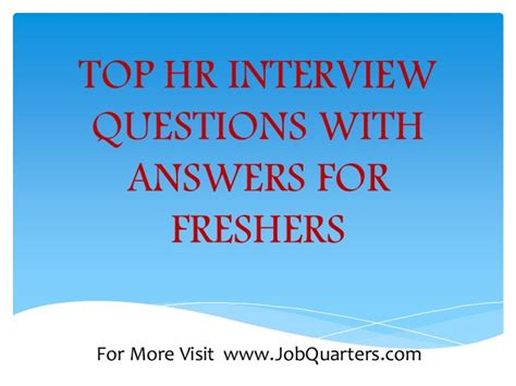 top hr questions and answers for freshers by www