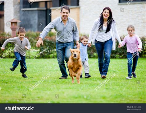 Search By Their Photo Happy Family Running With Their Outdoors Stock Photo 98814032